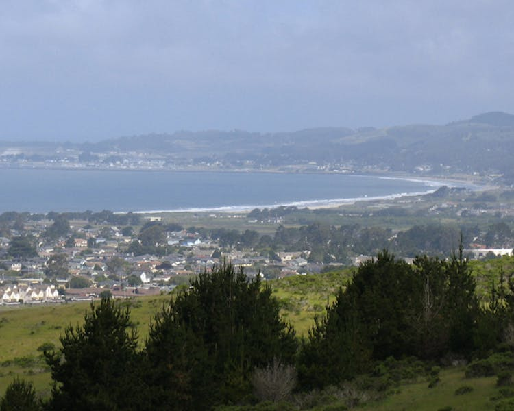 City of Half Moon Bay as seen fro distant mountain