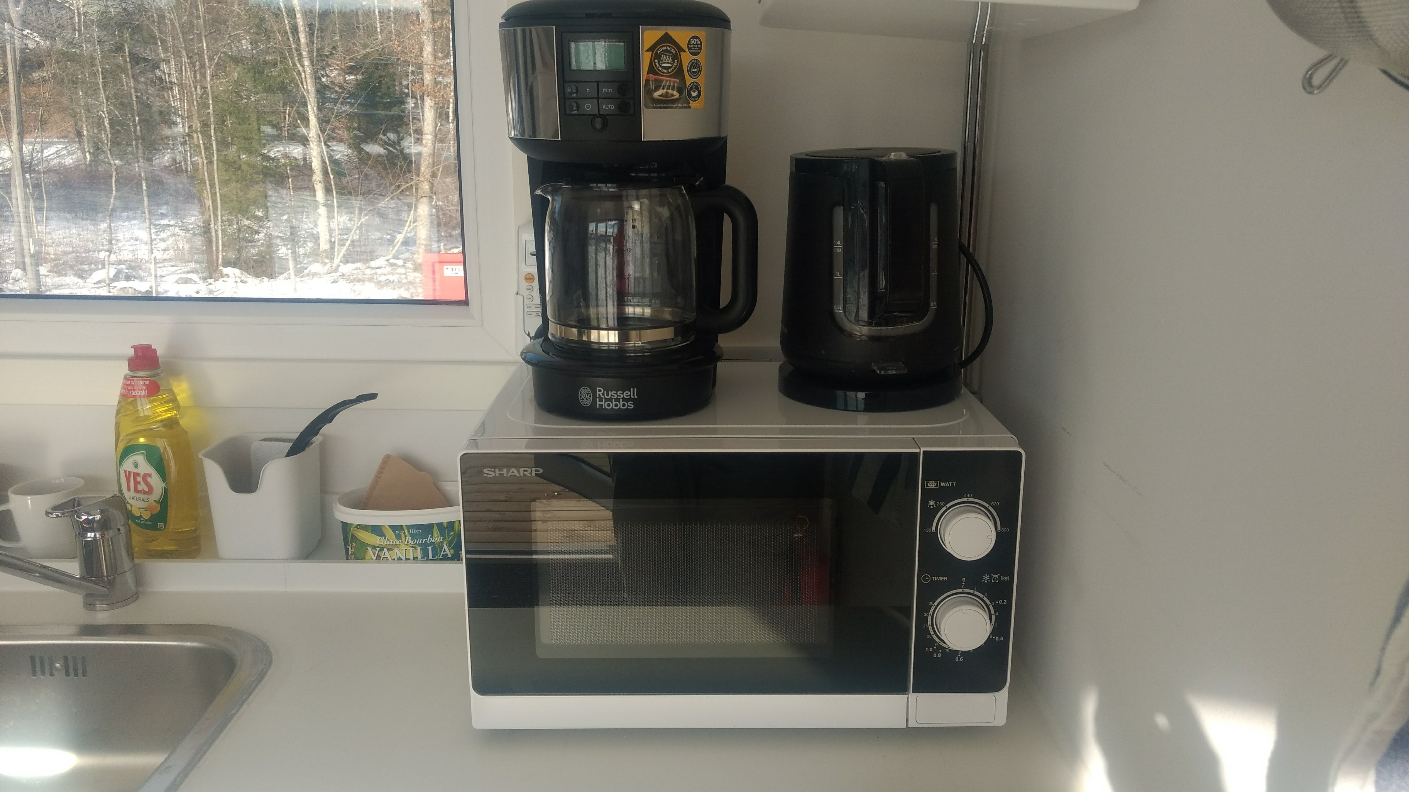 In kitchenette: micro-oven, fridge, hot-plate, watter boiler, coffee brewer, plates and cutlery, spices, etc