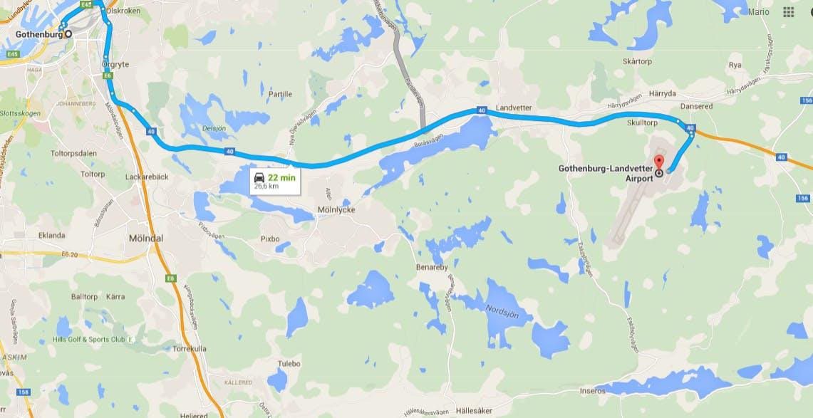 Directions Göteborg-Evika