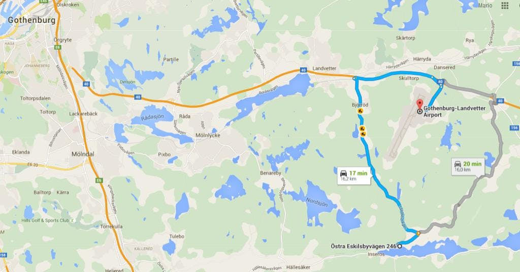 16min drive to airport on traffic-free roads