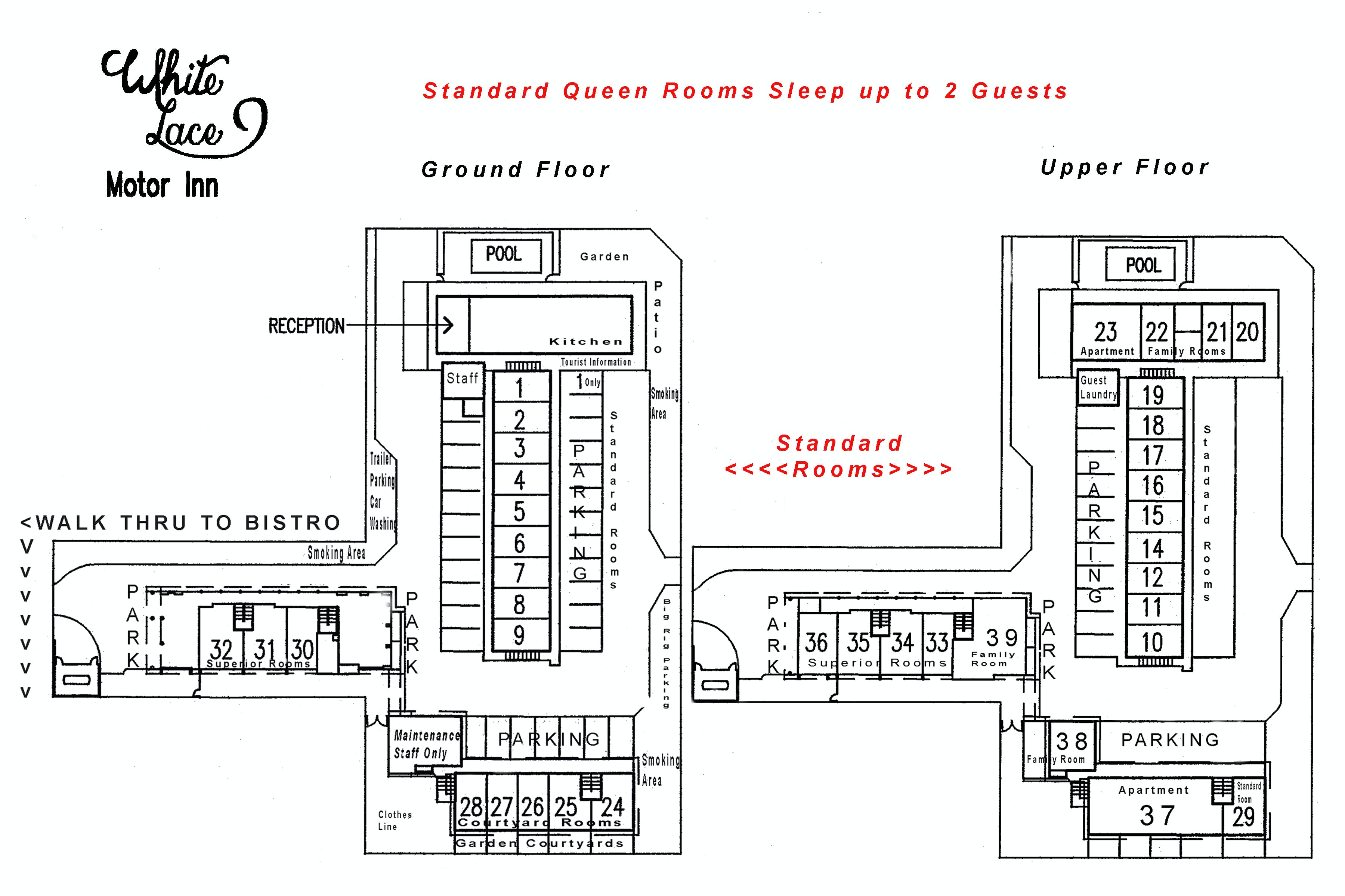 Standard Queen Room site plan White Lace Motor Inn Mackay, Hotel near Mackay airport