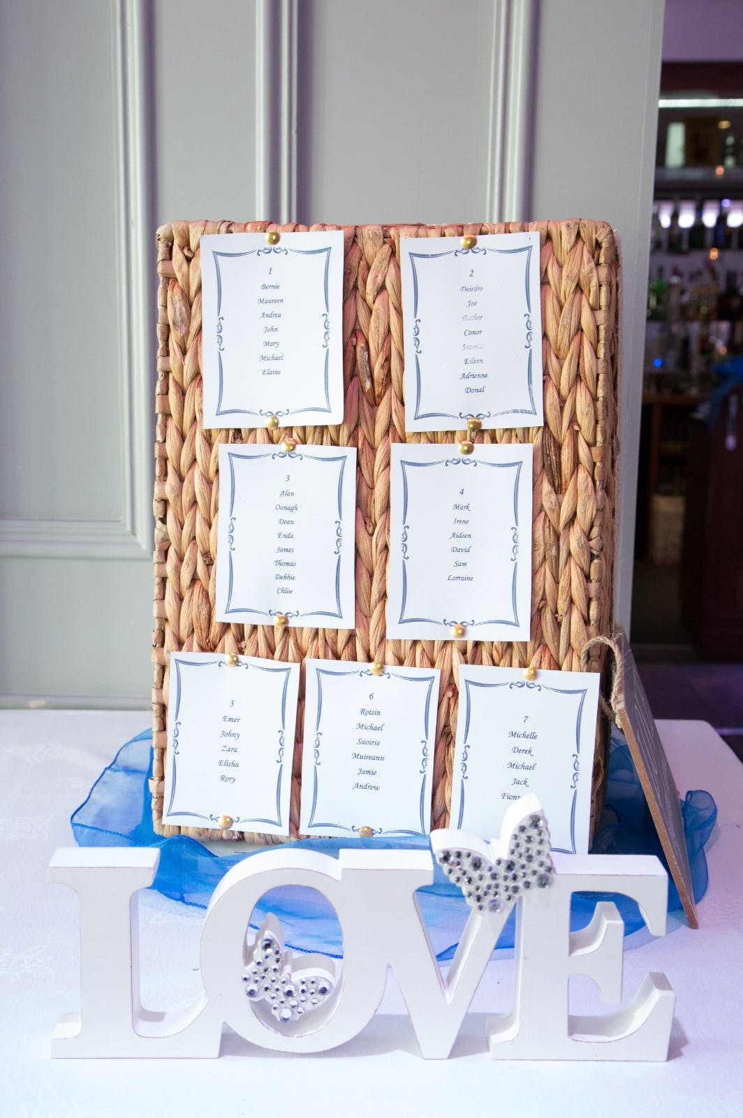 Table plan for a wedding in The Forde Room at Riverside Hotel.