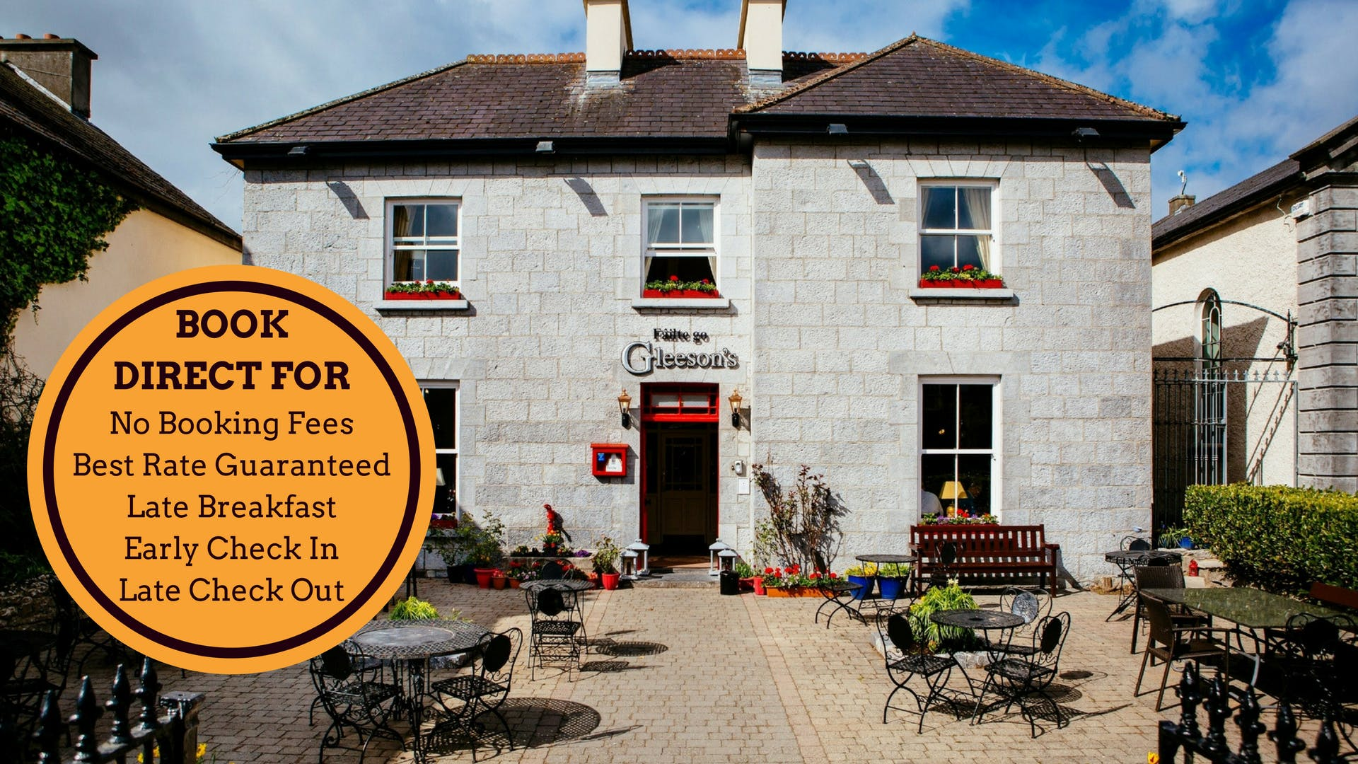 Book direct benefits at Gleesons Restaurant & Rooms, Roscommon