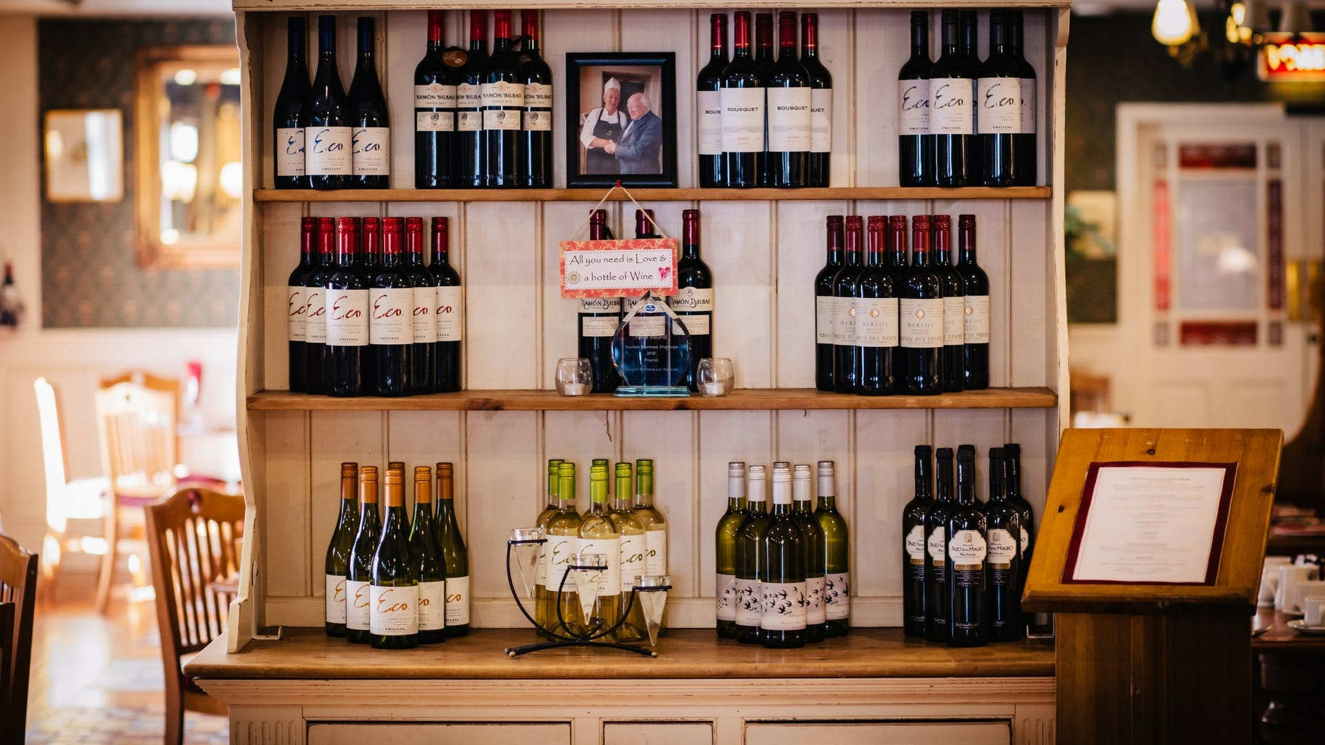Wine selection to compliment all dishes and palate at Gleesons Restaurant & Rooms, Roscommon