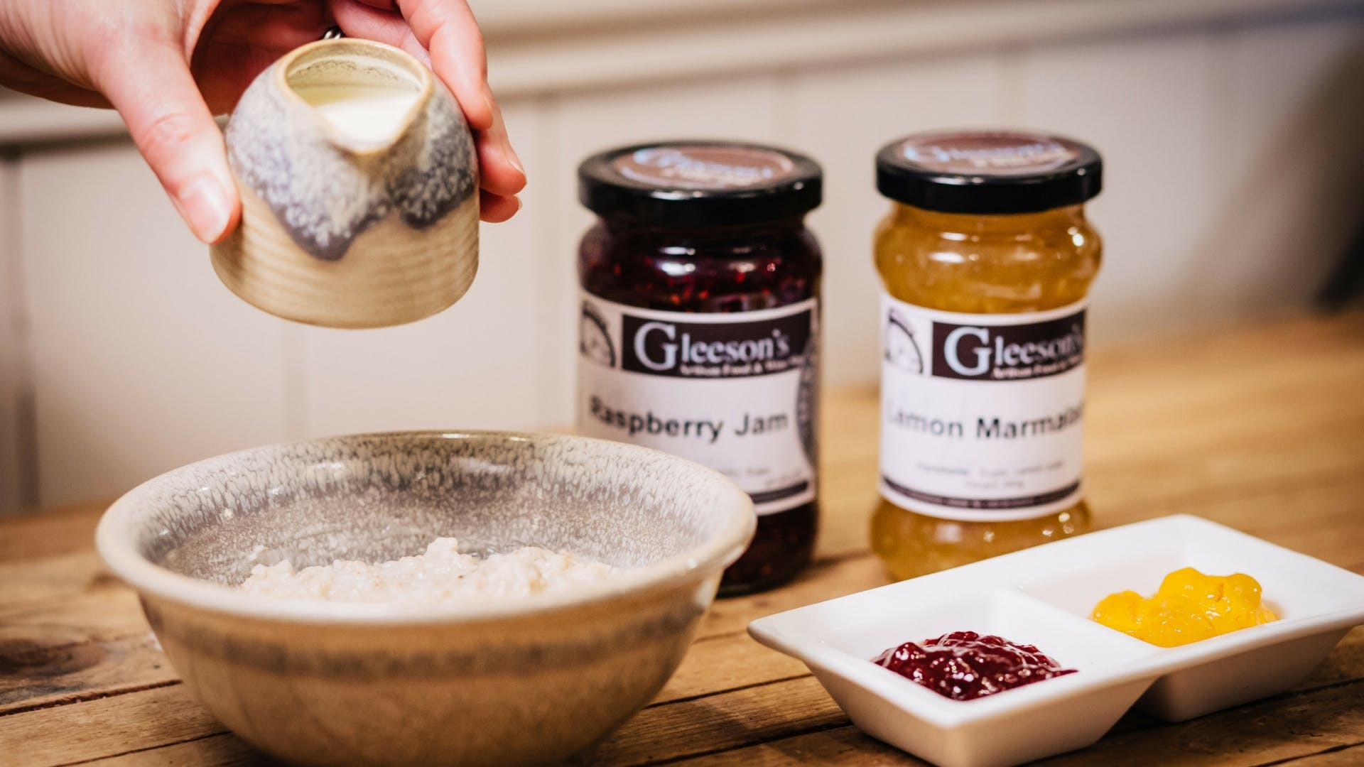 Porridge and homemade preserves at Gleesons Restaurant & Rooms, Roscommon