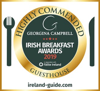 Commended at Irish Breakfast Awards Guesthouse Highly Commended by Georgina Campbell, Ireland Guide 2019