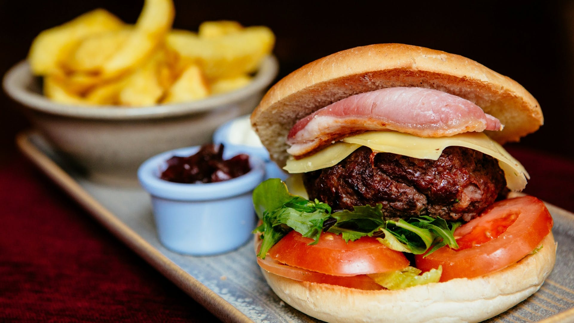 Comfort food with burger at Gleesons Restaurant & Rooms, Roscommon