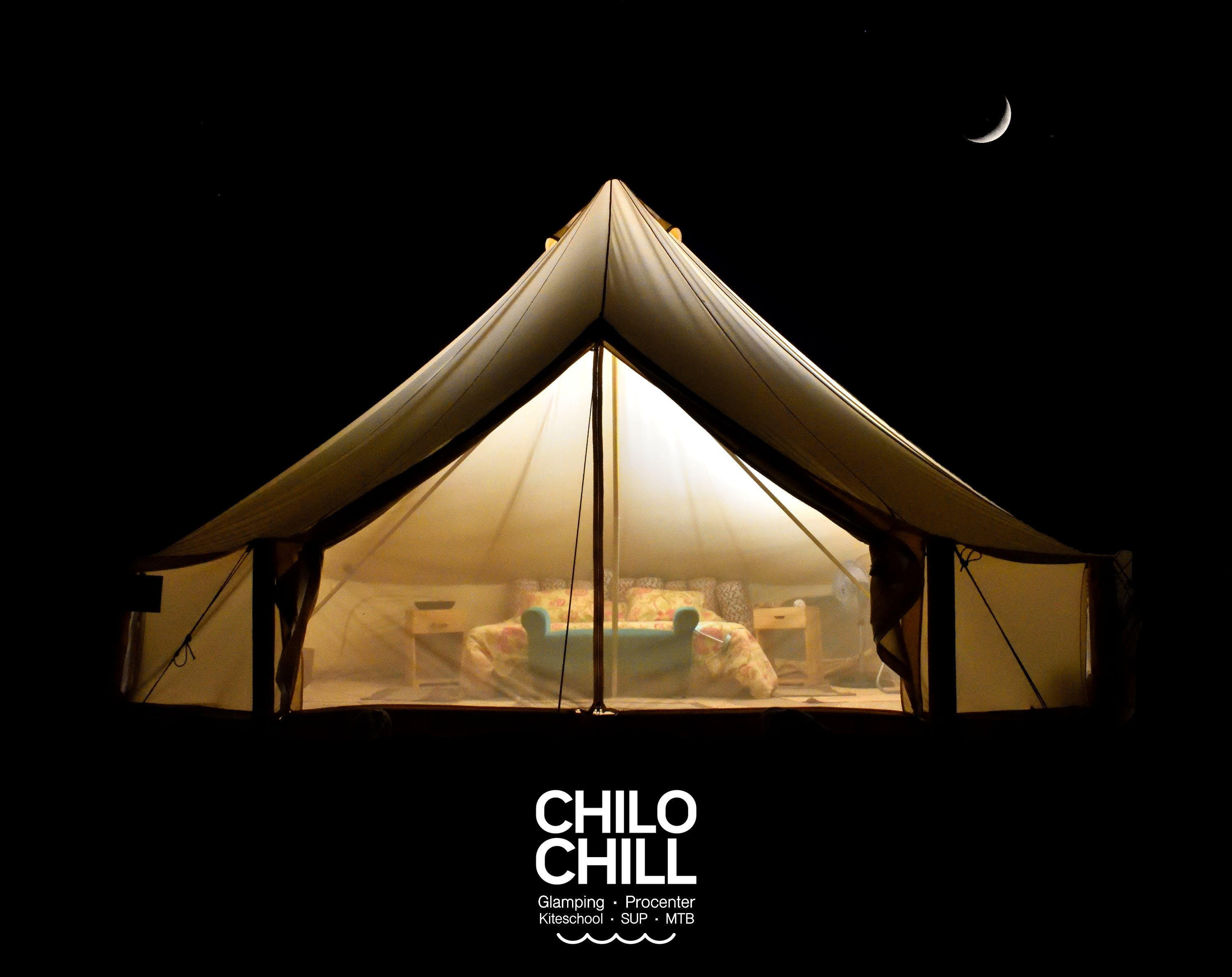 Chilo Chill Beach Resort by night. it is called baja nights.