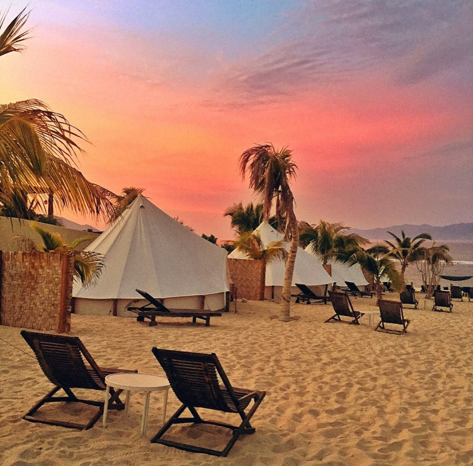 Chilo Chill Glamping nad Camping Beach Resort in La Ventana, Baja California Sur, Mexico.