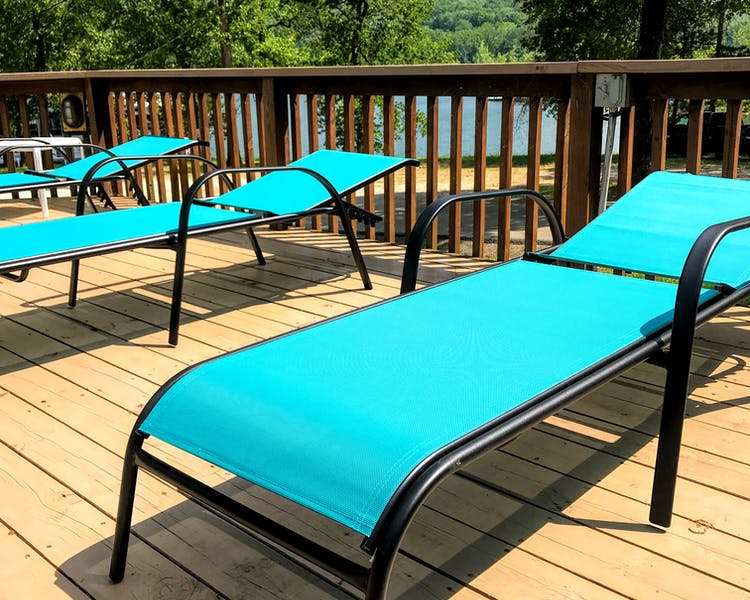 pool lounge chairs at Mill Creek Resort