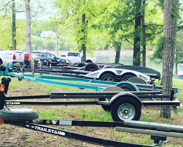 Boat trailers parked at Mill Creek Resort.