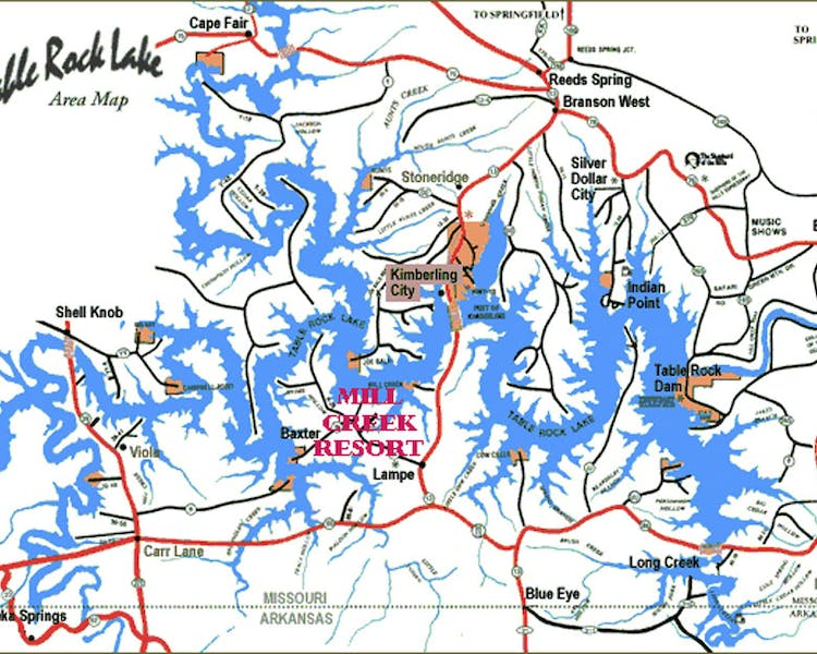 Map of Table Rock Lake