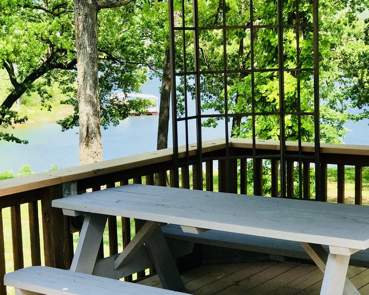Picnic table overlooking Table Rock Lake.