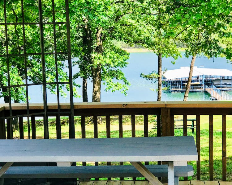 Picnic table overlooking the lake.