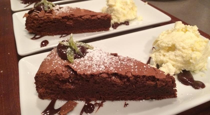Chocolate lime cake with coconut ice-cream