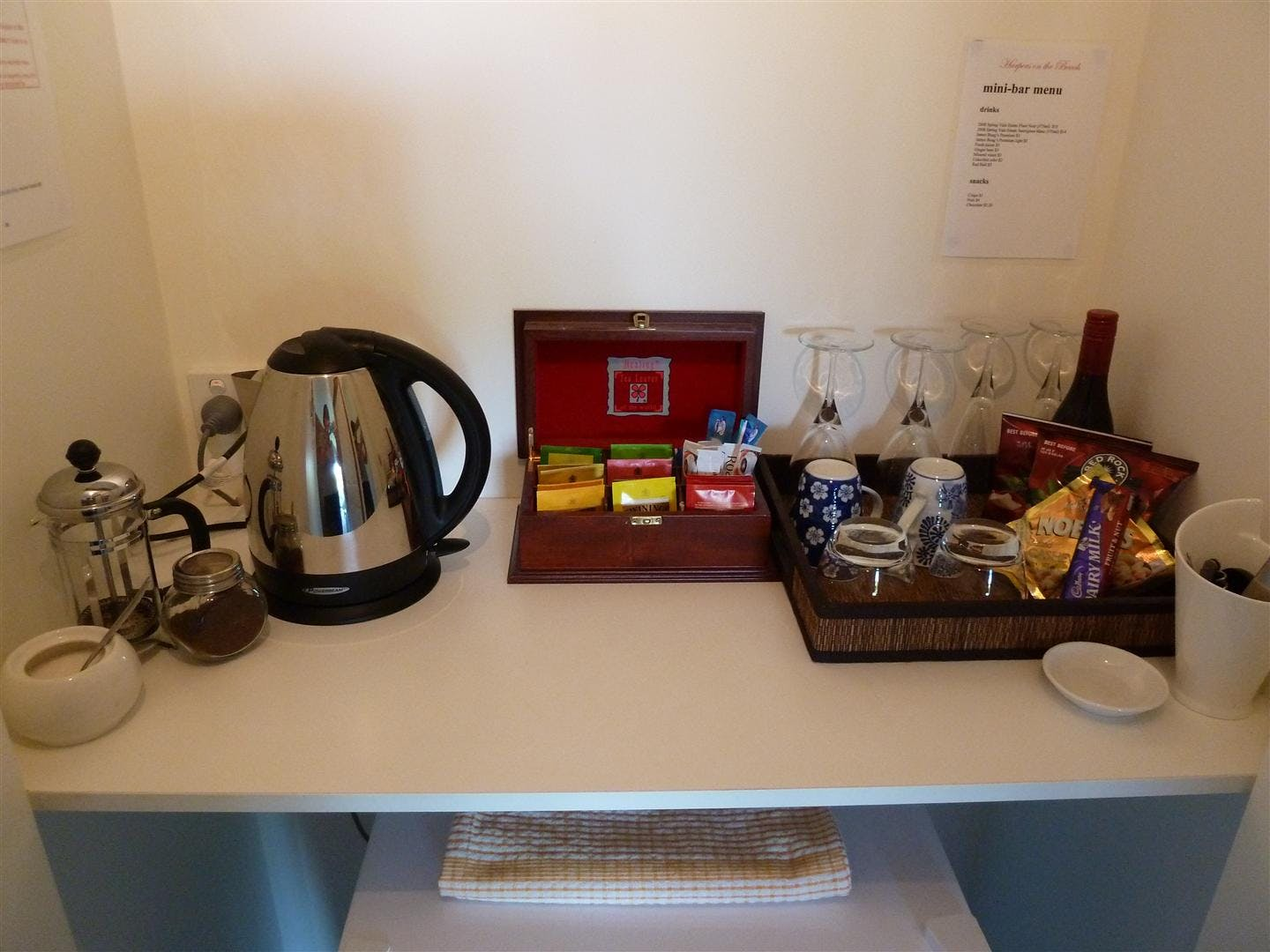 The tea/coffee station in all rooms. Nespresso machine.