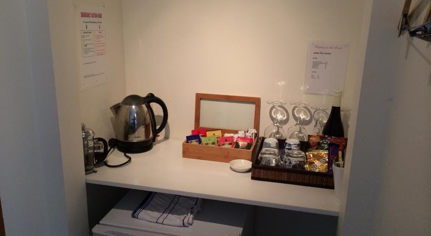 Tea and coffee station with Nespresso machine