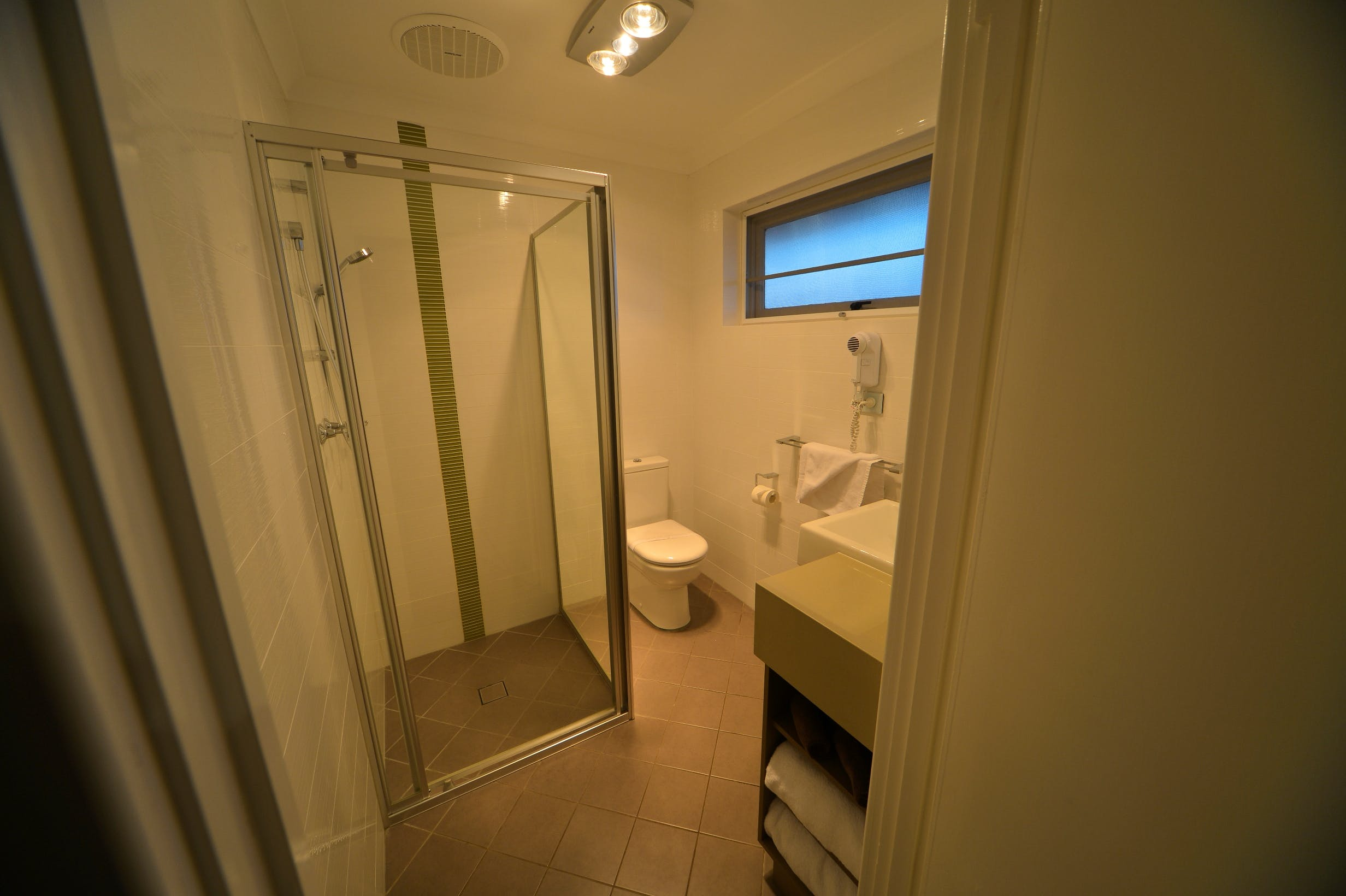 Ground floor rooms have a walk in shower at the Bentley Motel
