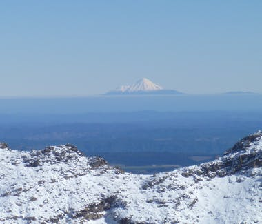 on a perfect day you can see Mount Taranaki towards the West coast.