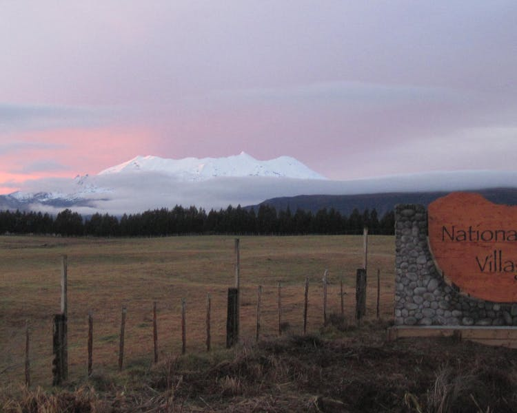 Pink winter sunset over Mount Ruapehu