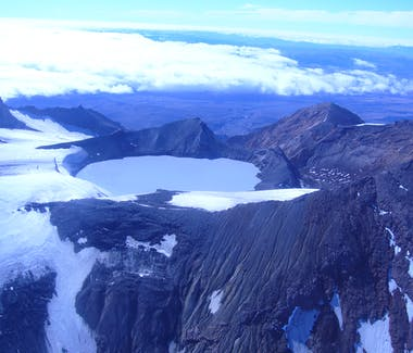 Scenic flight over Ruapehu Crater Lake
