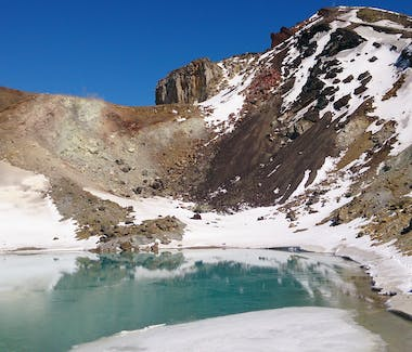 End of the winter season on the Tongariro Alpine Crossing, with Adventure Outdoors.
