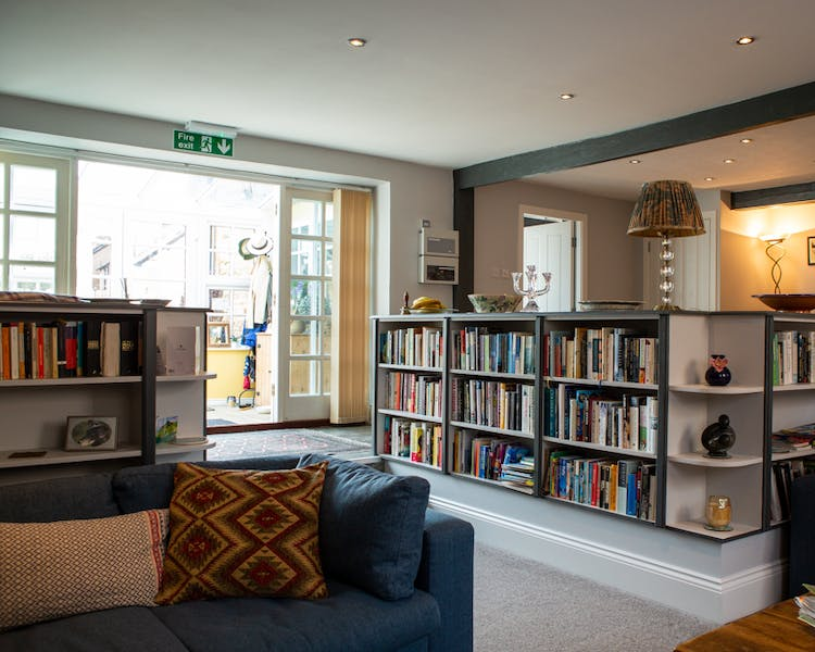 Lounge and bookshelves in the Old Schoolhouse Bed and Breakfast in Haltwhistle, Northumberland