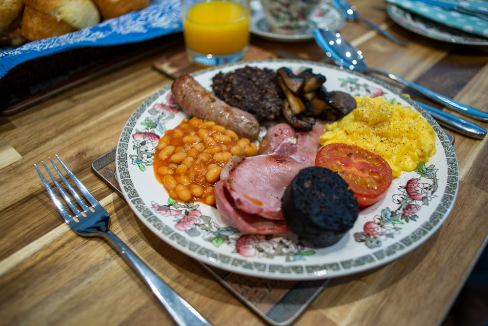 Full english breakfast in the Old Schoolhouse Bed and Breakfast in Haltwhistle, Northumberland