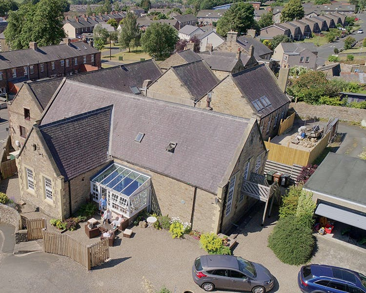 Aerial view of the Old Schoolhouse Bed and Breakfast in Haltwhistle, Northumberland