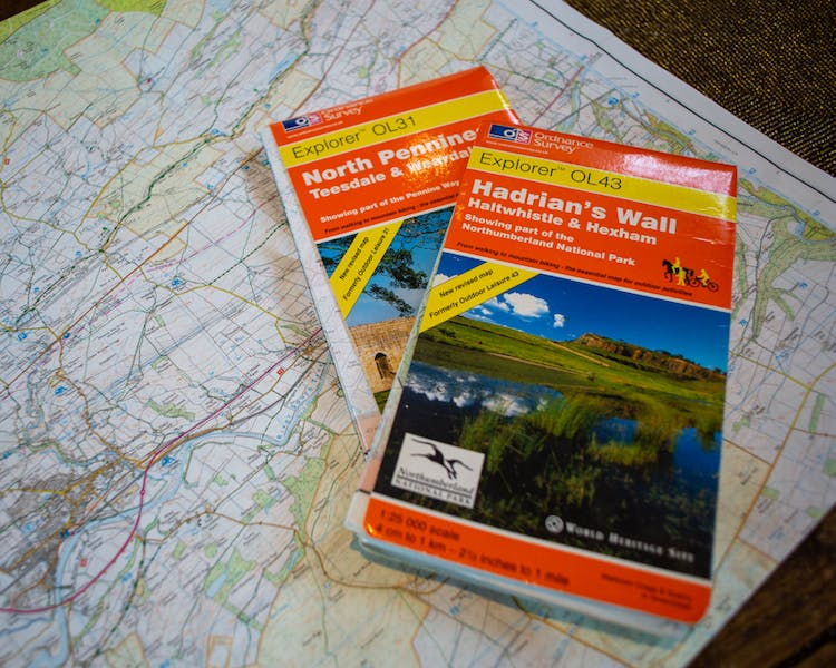 Walking maps for Hadrian's Wall in the Old Schoolhouse Bed and Breakfast in Haltwhistle, Northumberland