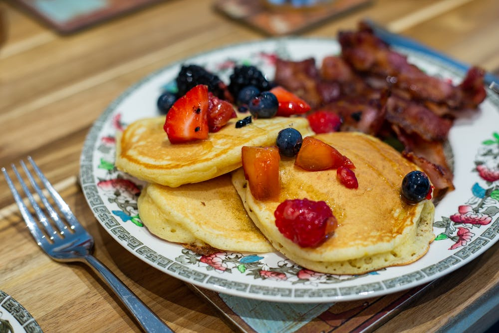 Breakfast pancakes in the Old Schoolhouse Bed and Breakfast in Haltwhistle, Northumberland