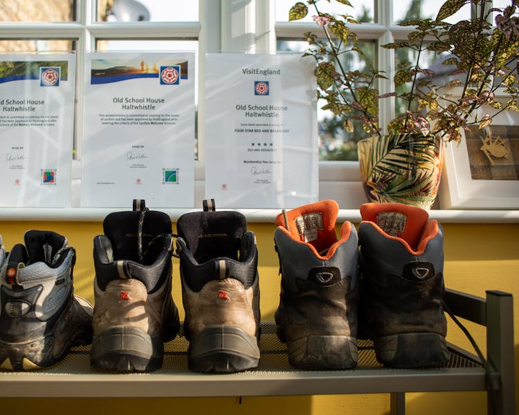 Walking boots in Old Schoolhouse Bed and Breakfast in Haltwhistle, Northumberland