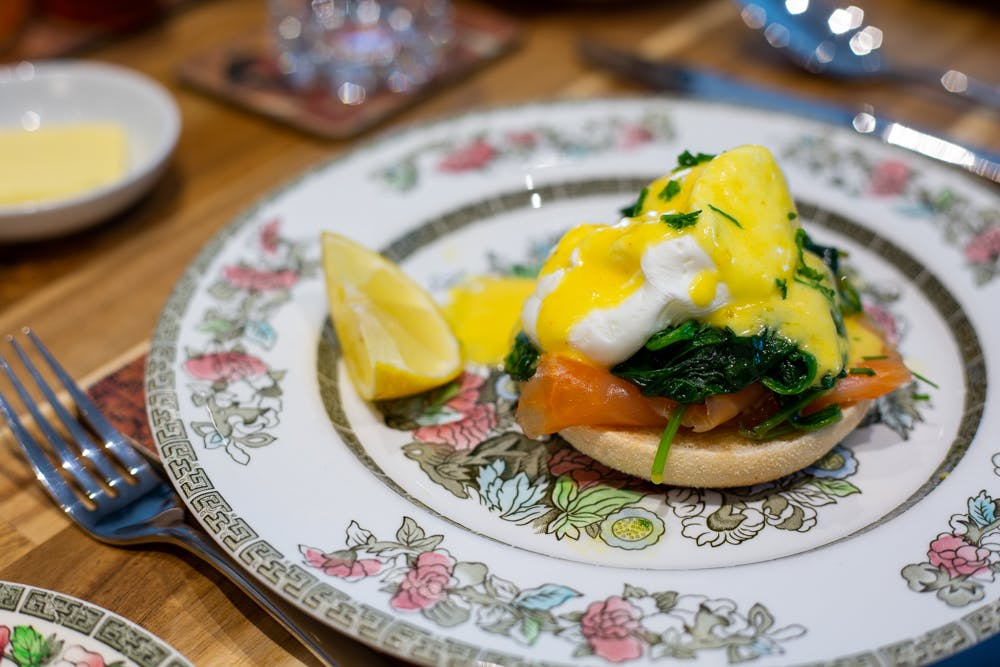Breakfast bagels in the Old Schoolhouse Bed and Breakfast in Haltwhistle, Northumberland