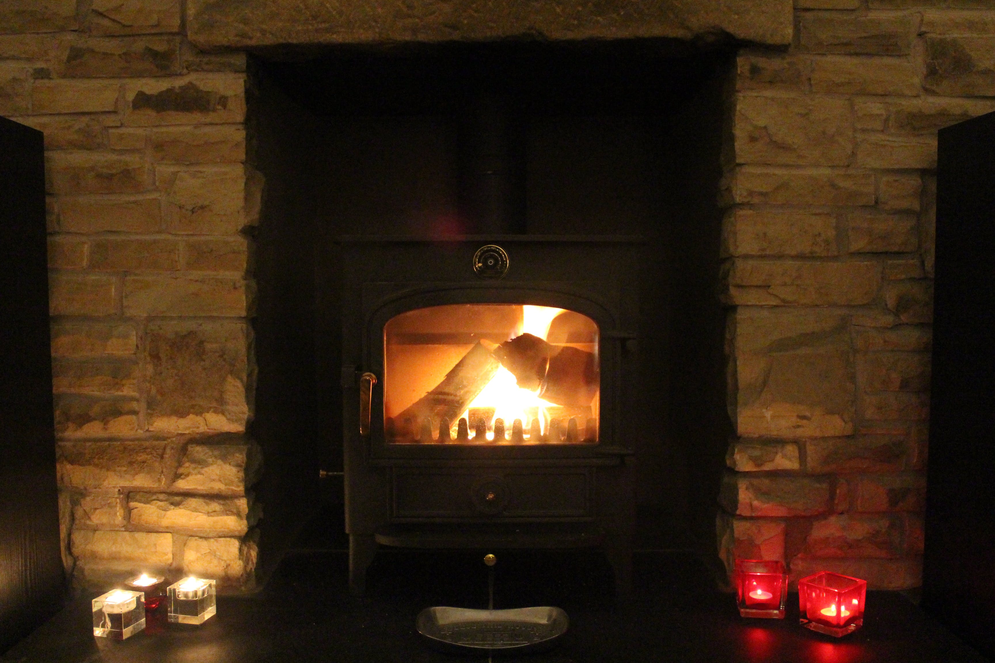 Wood burning stove in The Old School House B&B, Haltwhistle