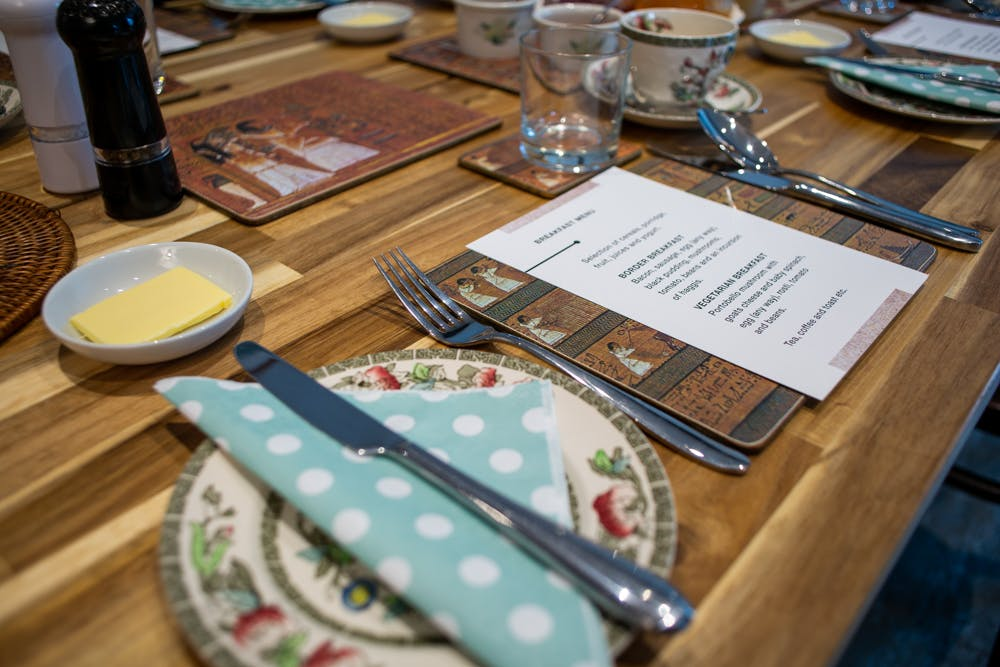 Dinner menu and place setting at The Old School House in Haltwhistle