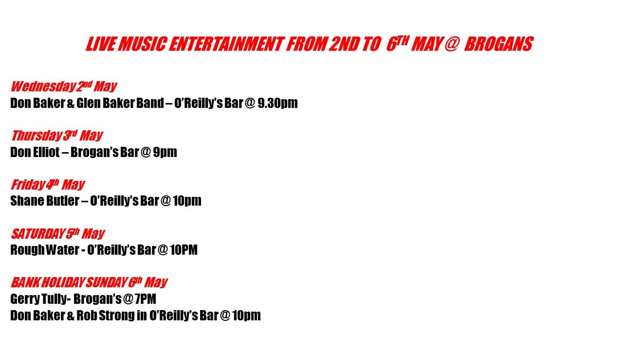 Live music entertainment this bank holiday weekend @ Brogans #Trimtourism