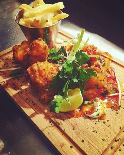 Tempura Monkfish Asian Slaw, Turf smoked Onion Aoili, Sweet Chilli, Lime & Triple Cooked Chips *