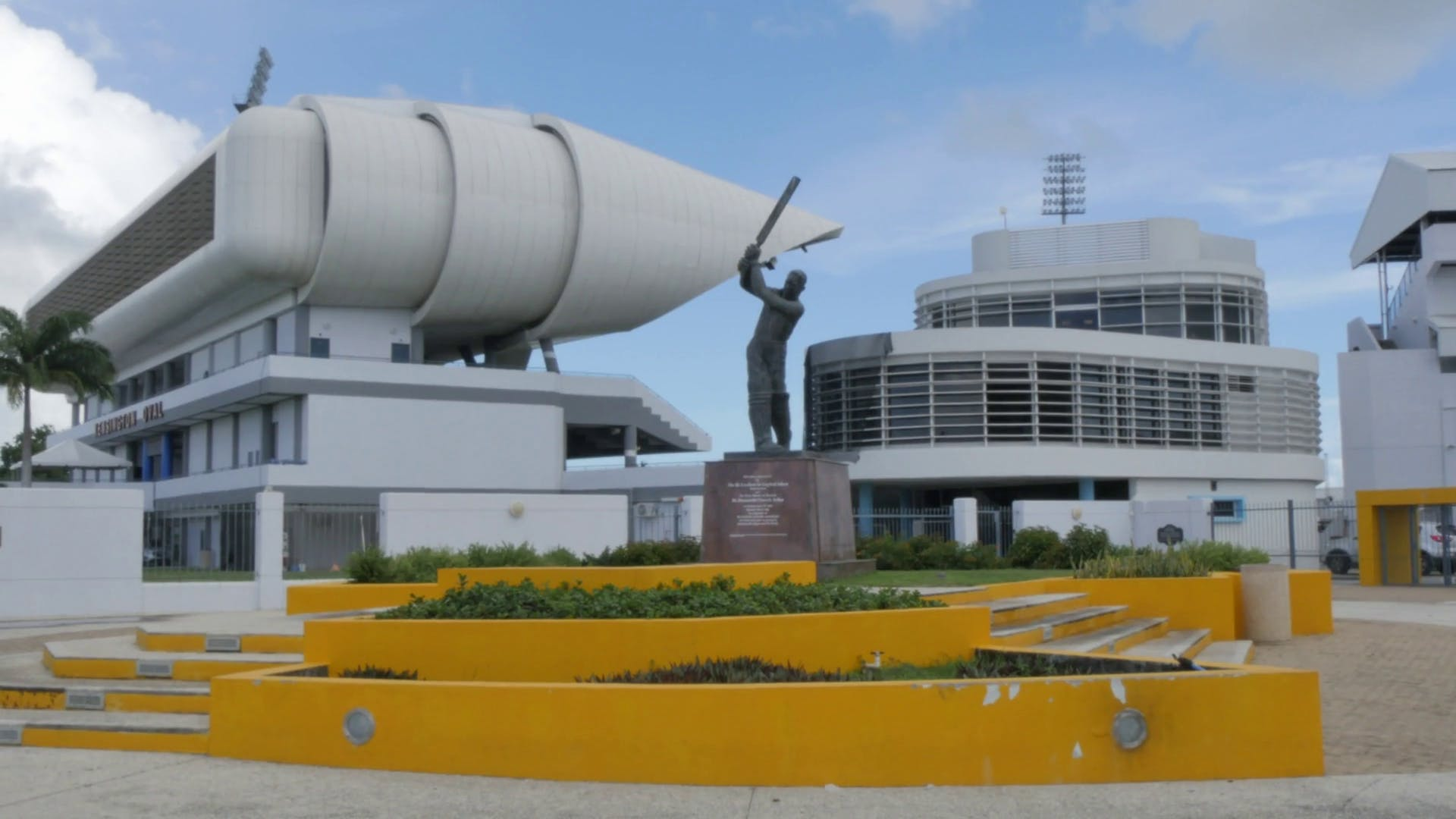 The Garfield Sobers statue standing before the Kensington Oval