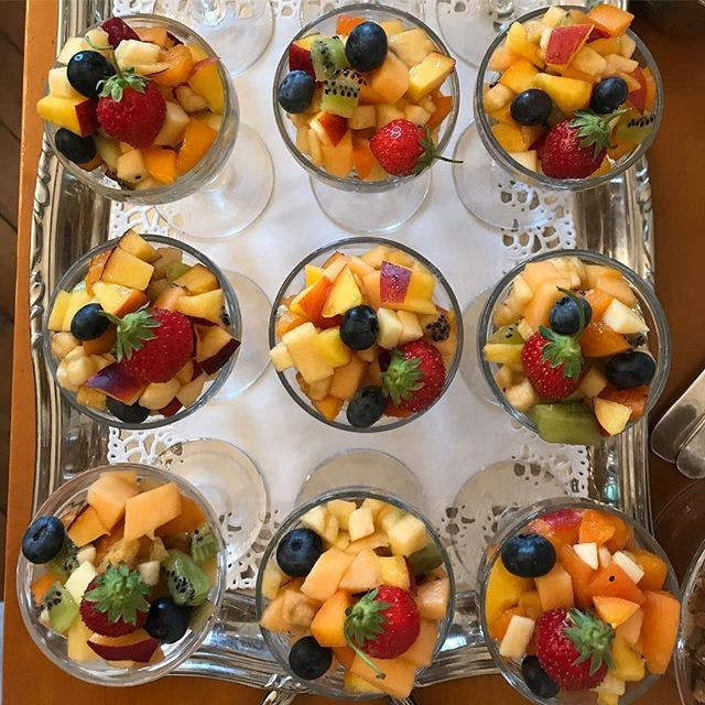 Fresh fruit salad for breakfast at Chateau Valcreuse