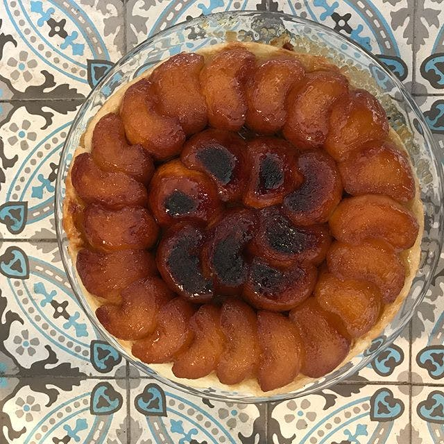 "Home made reversed apple pie ""Tarte Tatin"" made by our chef for dinner at Chateau Valcreuse"