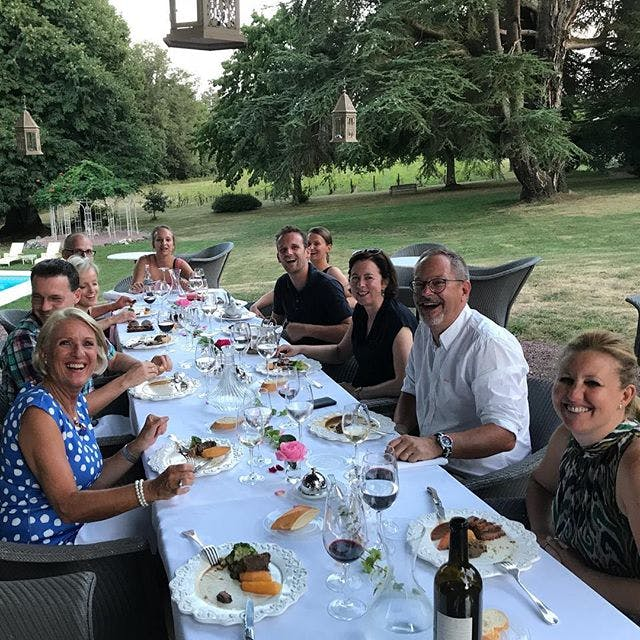 Typical summer evening diner at Chateau Valcreuse overlooking the pool and vineyard.