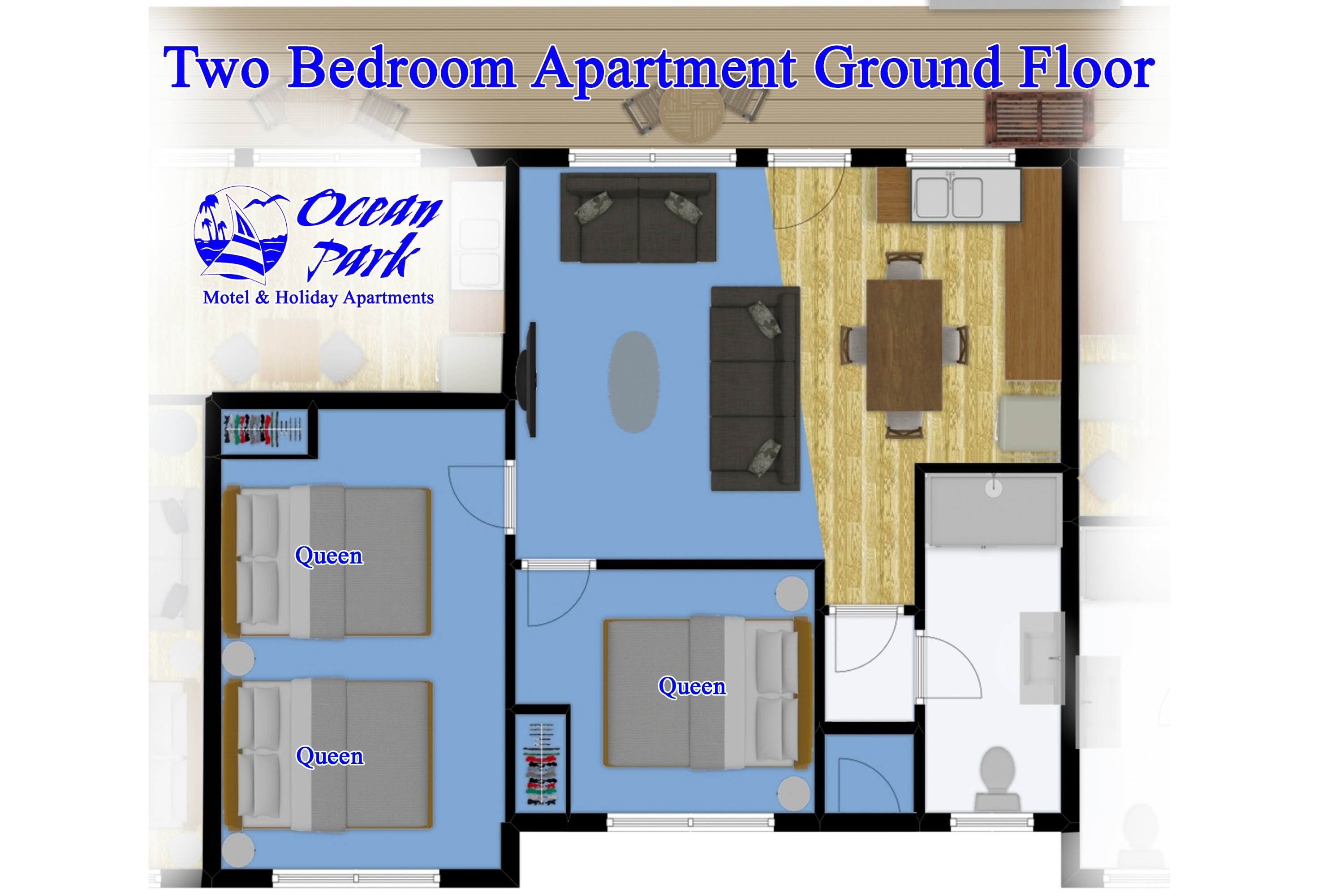 Ground Floor Two Bedroom Apartment Floor Plan
