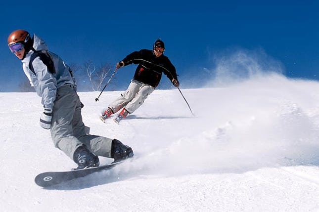 Snowboarding and skiing at June Lake or nearby Mammoth Lakes