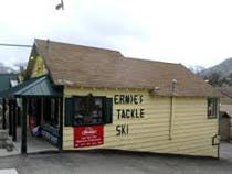 Iconic Ernies Tackle and Ski, 2 blocks from Lake Front Cabins.