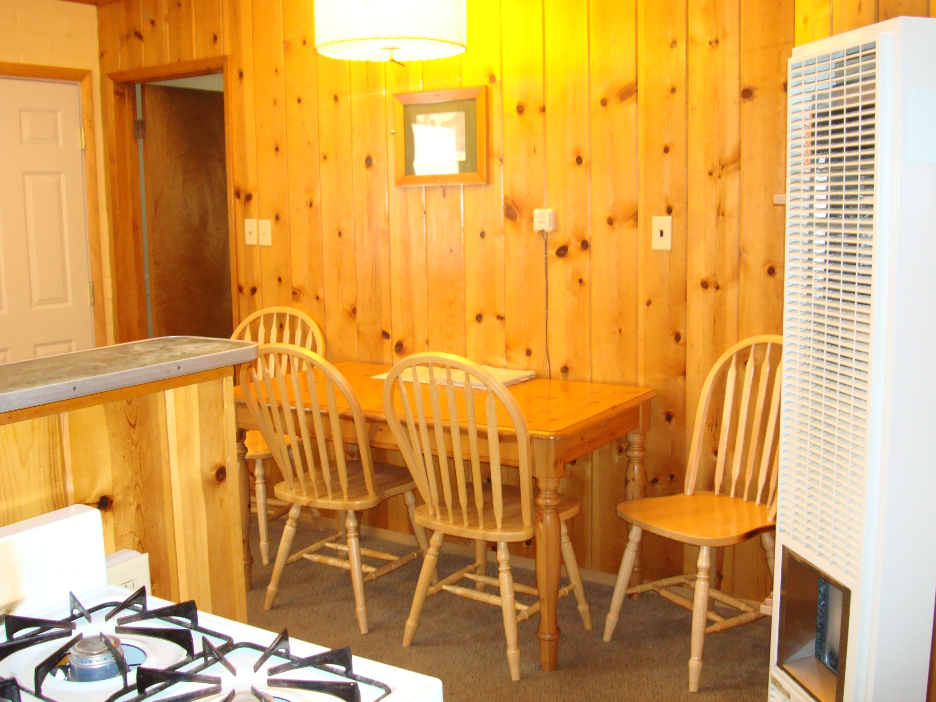 Dining room in 2-bedroom cabin.