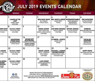 T-Bar nightly entertainment for July 2019