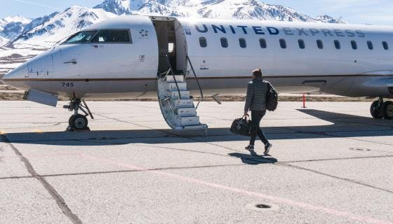 United Express flies into Mammoth Airport
