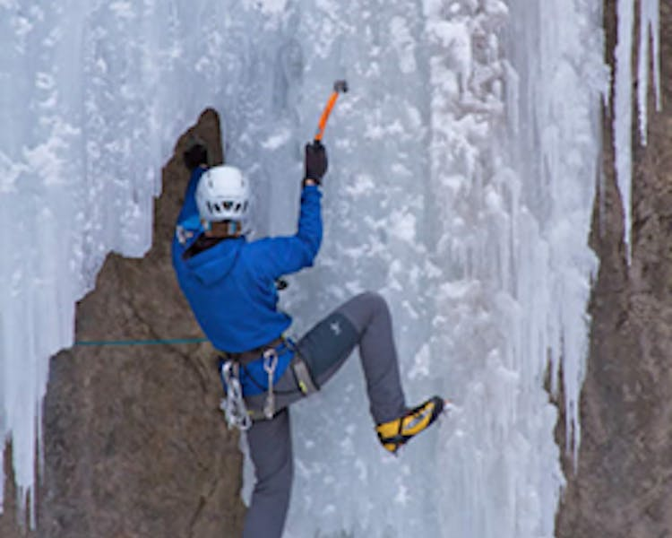 Ice climbing in June Lake
