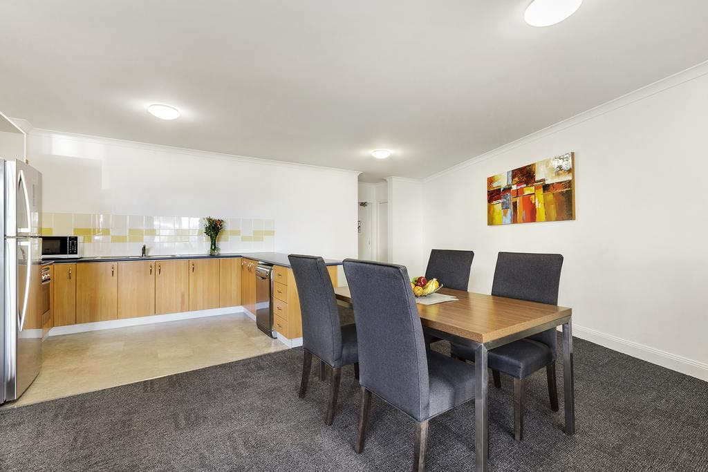 Large kitchen and dining room for two bedroom apartment