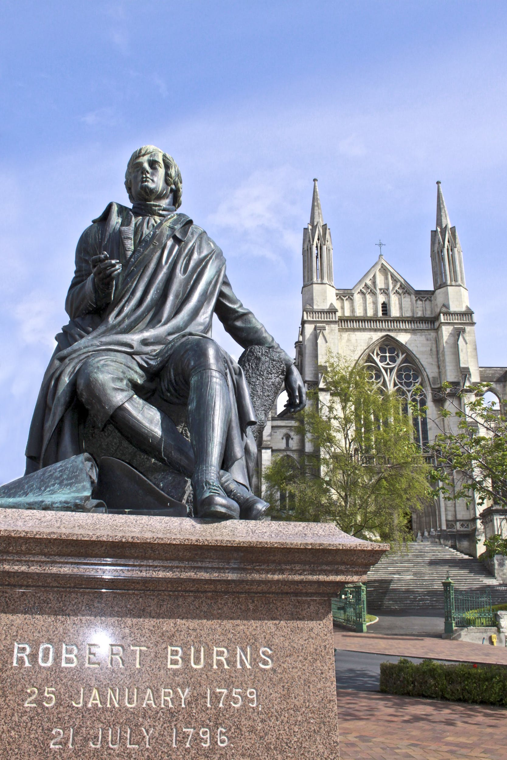 Our famous Scottish Bard, Robbie Burns statue and St Paul's Cathedral in the Octagon